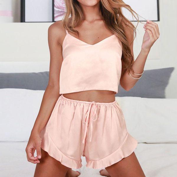 Kadınlar Seksi pijamalar V Yaka Kolsuz Pijama 2pcs / set Kaşkorse + Şort Pijama Takımı Sleepwear ayarlar