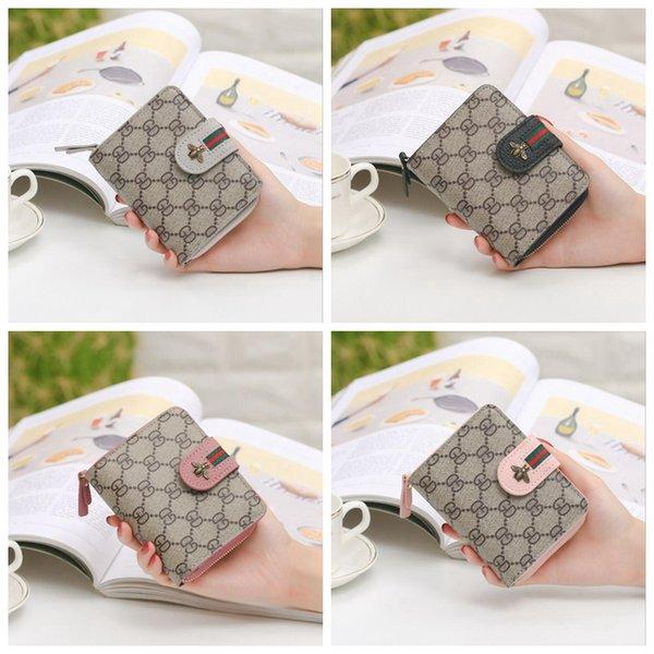 Novas mulheres bolsa de cartão curto com zíper bolsa crianças coin bolsa moda pequena abelha bonito sacos mini carteira