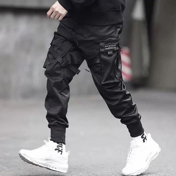 Erkekler Çok cep Harem Kalça Pop Pantolon Pantolon Streetwear Sweatpants Hombre Erkek Rahat Moda Kargo Pantolon Erkekler