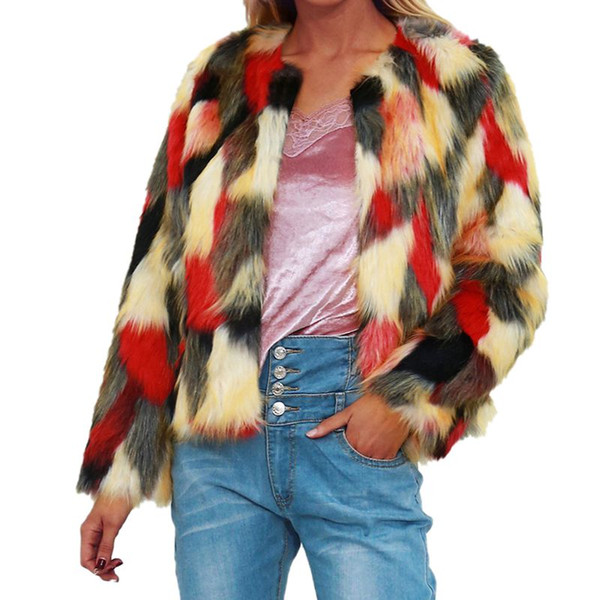 Winter Coat Plus Size 2019 Women Thick Warm Colorful Faux Fur Coat Chic Jacket Cardigan Outerwear Tops Cocktail New Arrived