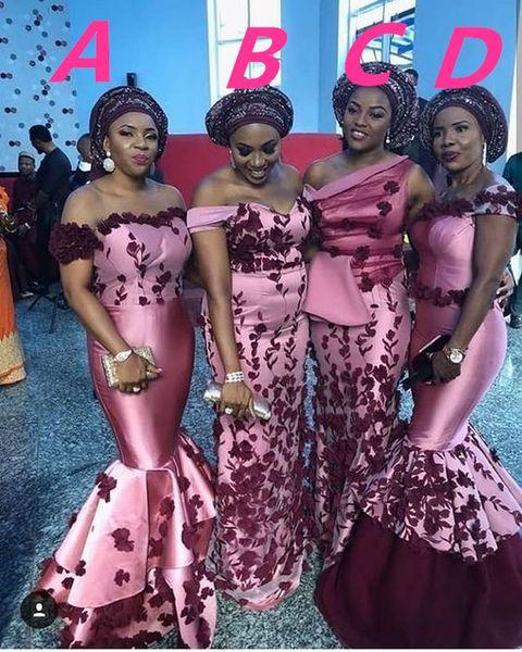 Черная девушка камуфляж Африканская Русалка Платья для подружек невесты Разные стили Один и тот же цвет Плюс размер Джерси из дуэйн уэйд с кружевом Аппликация Maid Of Honor
