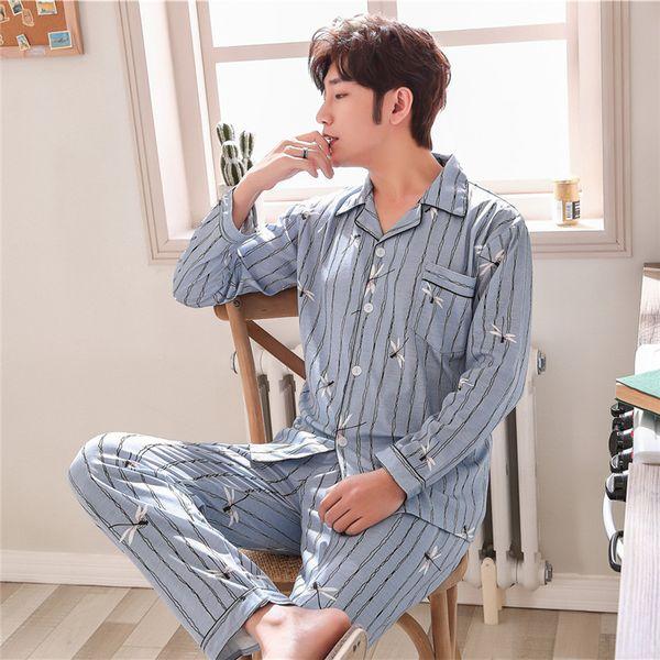 2019 Spring Cotton Long Sleeve Men Pajama Sets Cardigan Casual Sleepwear Suit Fashion Men's Pyjamas Autumn Winter Male homewear