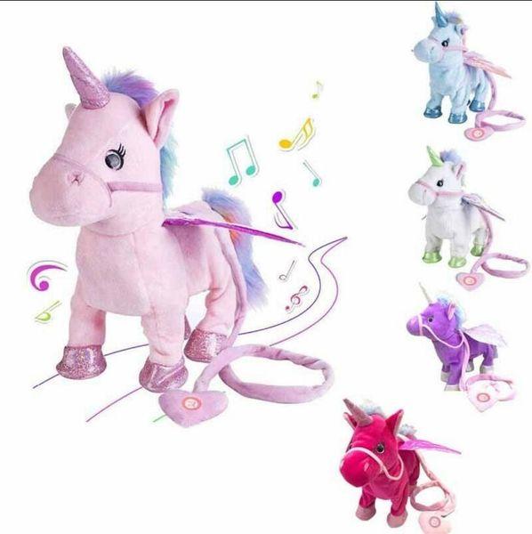 Elétrica Andando Unicórnio 35 cm Cavalo De Pelúcia Bicho De Pelúcia Brinquedo Música Crianças Presentes de Natal Novidade Itens 30 pcs OOA6252