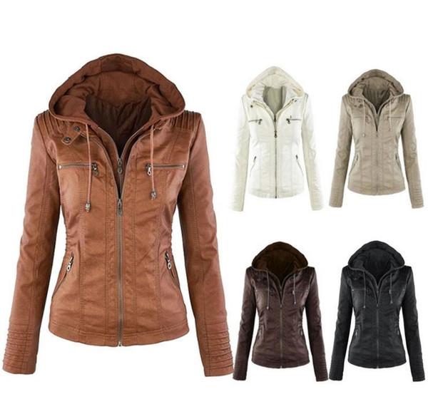 Yeni Bayan Kışlık Deri Ceket Kaban Kapüşonlular Kapşonlu Yaka Fermuar Ayrılabilir Deri Ceket Kadın jaqueta de cour