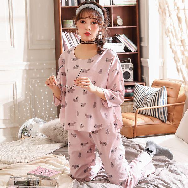 Hot Slae Elegant Women Cotton Sleepwear Cartoon Cute Girl Pyjamas Suit Home Shirt O-Neck Sleep Clothing 2PCS ropa de dormir Lencería