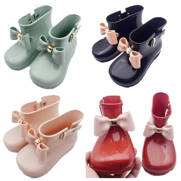 Mini Melissa Shoes Baby Bows Jelly Rain Boots Kids Designer Shoes Girls Cute Non-Slip Princess Short Boots Children Jelly Water Boots A6504