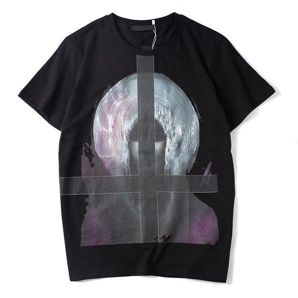 Lüks Erkek T-shirt Tasarımcı Erkek Casual Kısa Kollu Moda Çapraz Baskı Yüksek Kalite Erkekler Kadınlar Hip Hop Tees Siyah