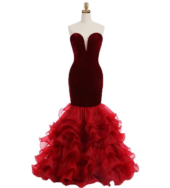 2019 Sweetheart Burgundy Mermaid Prom Dresses Ruffles Skirt Organza Formal Evening Party Ball Gowns Juniors Graduation Dress