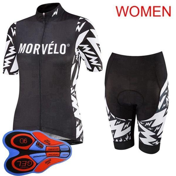10715 été femme Morvelo équipe Personnalisées cyclisme manches courtes Shorts Quick Dry Sports de plein air respirantes Jersey Ensembles S