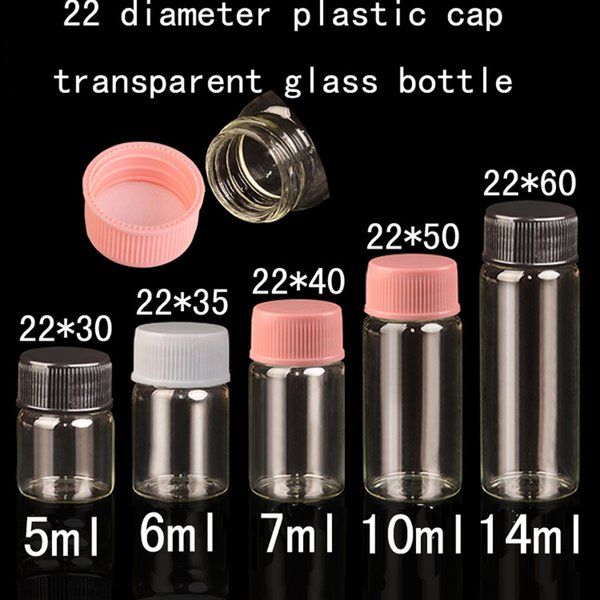 500pcs/lot 5ml 6ml 7ml 10ml 14ml Diameter 22 mm transparent plastic cover glass bottle ,wishing bottle for gift