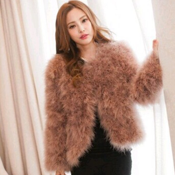 New Luxury Elegant Warm Ladies Ostrich Fur Coat Short Turkey Feather Jacket Winter Overcoat Women Coat 9 Colors to Choose