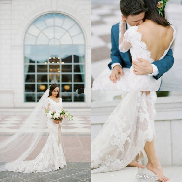 2019 Rustic Scoop Neck Lace Appliques Mermaid Wedding Dresses Sweep Train Design Backless Boho Bridal Gown Long Sleeves Wedding Gowns