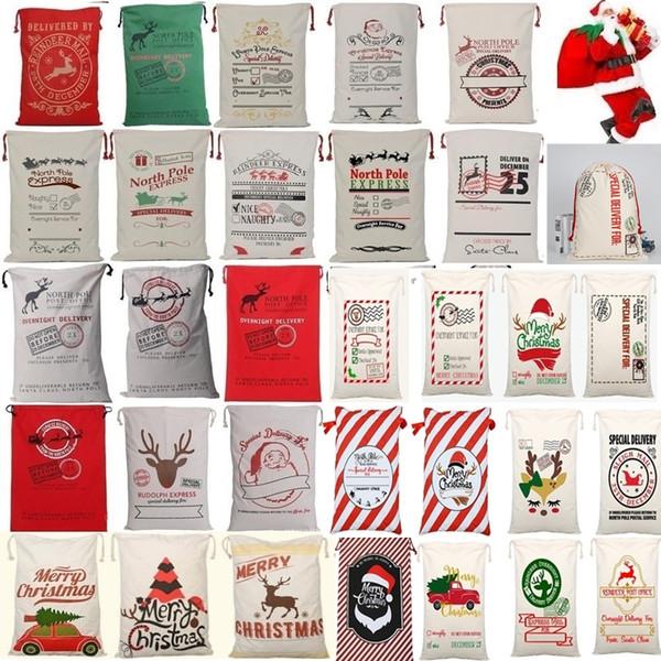 best selling Newest Drawstring Bag Christmas bags Halloween Canvas Santa Sack Bags Santa Claus Cute Deer Ornament Christmas Decorations Canvas gift bags