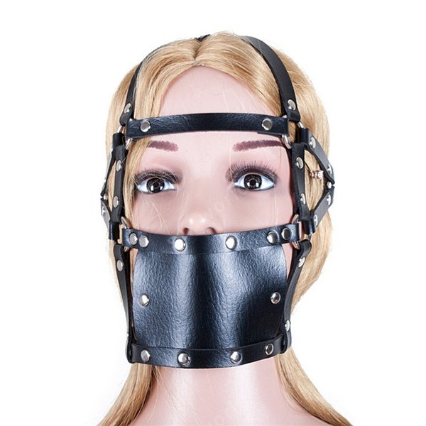 Adult game sex toy bandage PU leather head Harness opening mouth hollow ball mouth chewing gum skull oral fixation