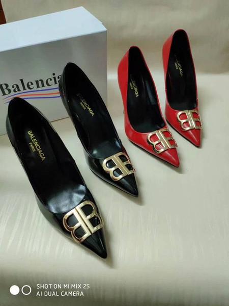 Высокое качество высокий каблук сандалии коровьей кожи одной обуви для женщин мода тапочки Женщины Повседневная сандалии дамы с коробкой