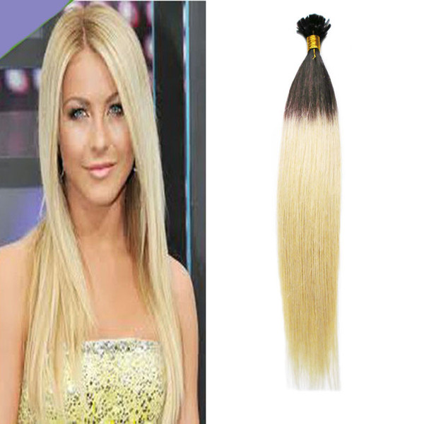 Hot Black And Blonded Virgin Peruvian Straight Remy Hair 100s Keratin fusion Pre Bonded Nail U TIP Remy Hair Extensions Virgin Straight
