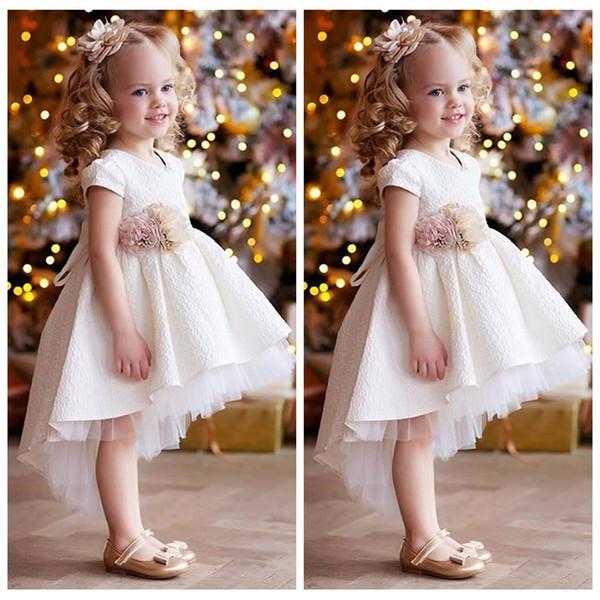 Yüksek Düşük 2020 Tül Çiçek Kız Elbise El Çiçek Bel Bandı Çocuk Parti Abiye Dantel Çocuk Parti Gowns Dantel