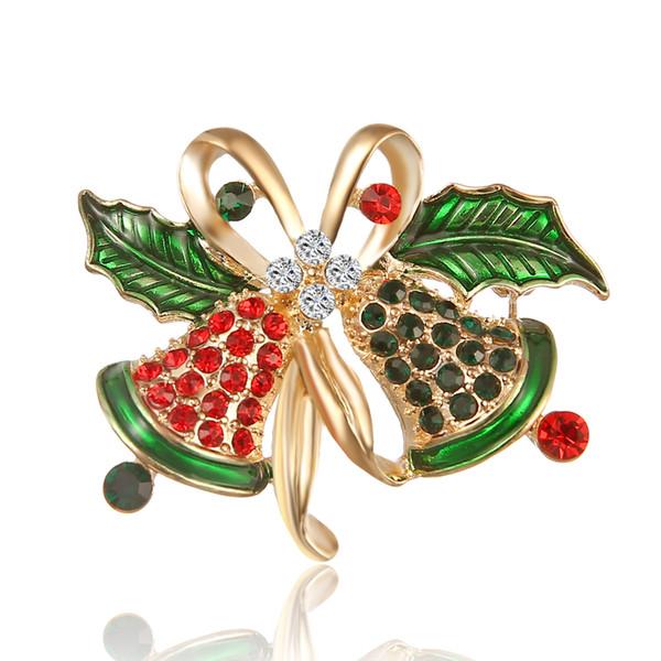 Merry Christmas lovely Christmas bell design brooch as christmas gift for women & men and kids