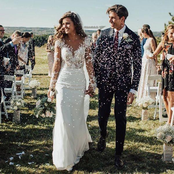 2020 Sheer mangas compridas vestidos de casamento Magro Sereia Trem da varredura vestidos de noiva personalizado Chiffon mangas compridas Praia Formal Primavera baratos