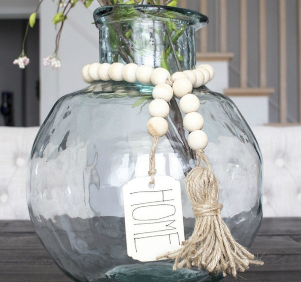 best selling Wood Bead Garland with Tassels and DIY Tag Eco-Friendly Natural Handmade Northern Europe Style Farmhouse Decoration