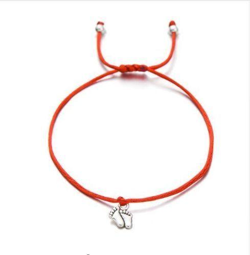 20pcs/lot Double Feet Family Wish Bracelets Simple Red String Charms Gift Lucky Red Cord Adjustable Bracelet DIY Jewelry