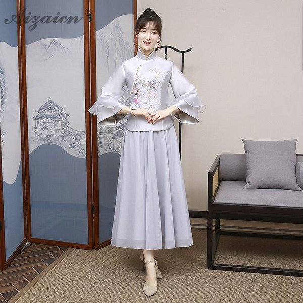 2019 Gray Bridesmaid Vintage Gown Qi Pao Women Chinese Traditional Dress Cheongsam Modern Robe Orientale Sister Dresses Clothing