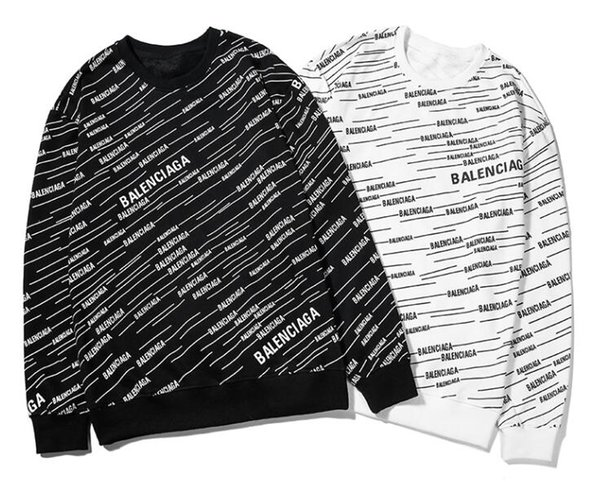 19 new full body bar letter LOGO diagonal stripes retro hip hop casual personality round neck sweater