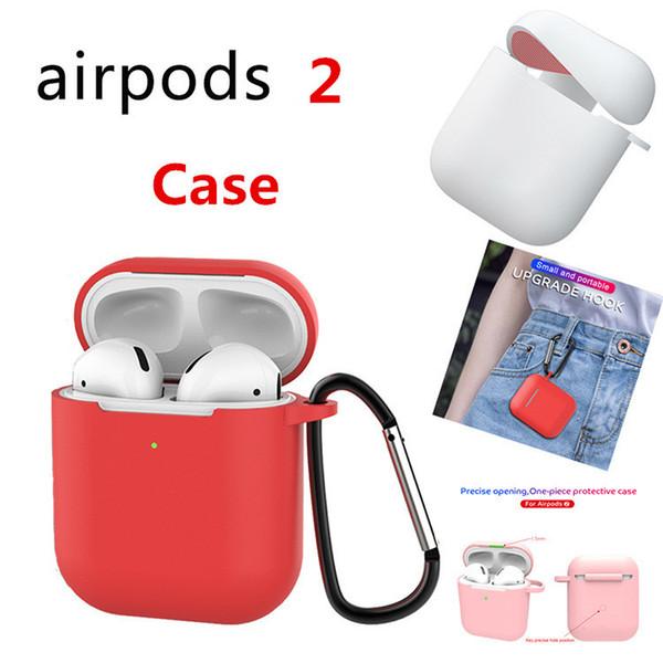 Für Apple Airpods2 drahtlose Version Silikonhülle mit Anti Verlorene Schnalle weichen TPU ultra dünne Schutz-Abdeckung für Airpods2 Kopfhörer-Kasten
