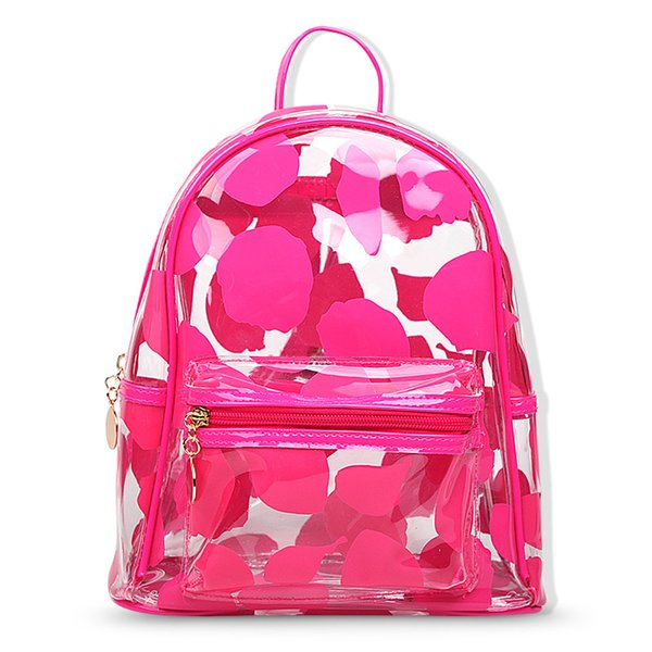 Clear Jelly Petal Backpack Fashion Pvc Women Schoolbag Summer Travel Back Pack Lady Beach Bookbags Solid Color Teen Girl Daypac