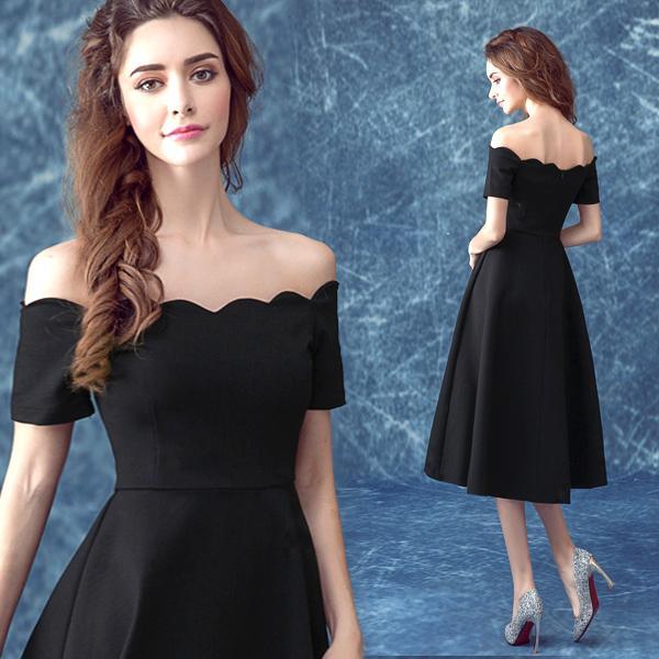 Anjo Negro Real Pictures Dress Formal Partido Off The Shoulder Dinner Reunião Anual de Aniversário Curto Pequeno Vestido robe soire 2019