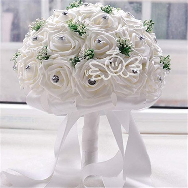 Vente chaude Rouge Artificielle Rose Fleur Broche Bouquet De Mariée Bouquets De Mariée