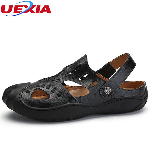 UEXIA 2018 Leather Beach Sandals Male Breathable Toe protection Comfort Causal Men Summer Flats Loafer Shoes Men Zapatos Hombre