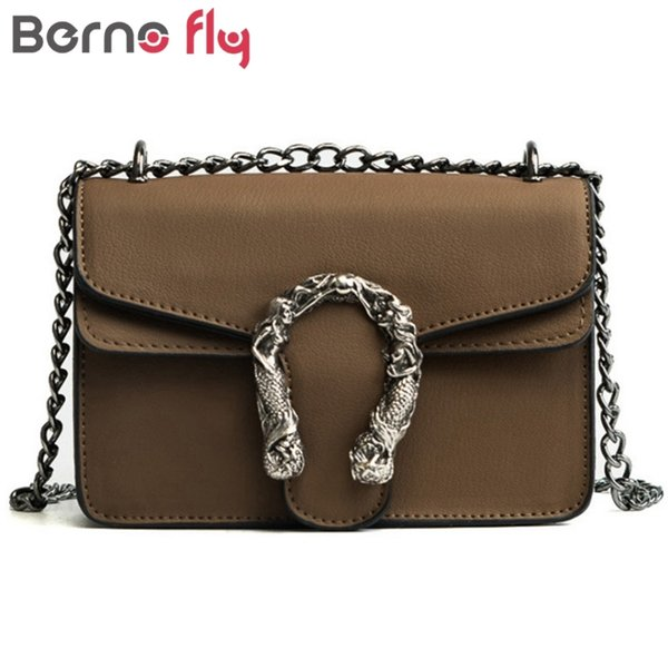 Designer Berno Fly Fashion Women Bags New Design Girls' Shoulder Bags Diagonal Quality Leather Lady Handbags Vintage Chains Small Bag
