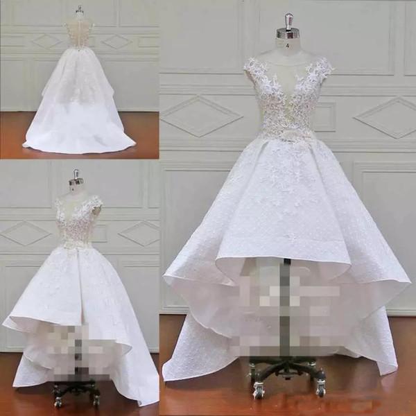 2019 novo designer de vestidos de noiva oi-lo mangas colher pescoço tampado apliques de renda moda uma linha mulheres strapless casamento drersses custom made