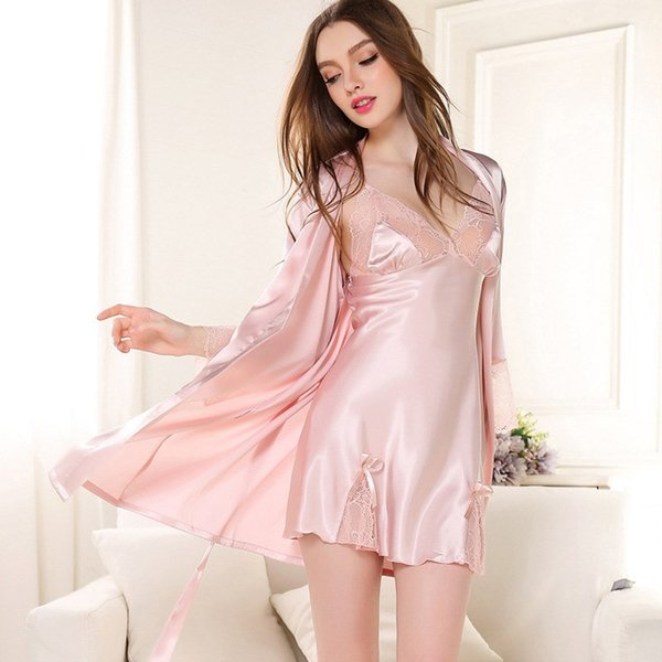 Spring Summer Women Satin Robe Sets Deep V-neck Lace Patchwork Bath Robe Nightgown Adjustable Straps Nightdress