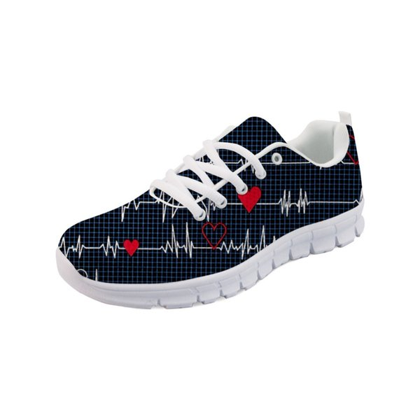 Noisydesigns Doginthehole Sneakers Women Cartoon Nurse Pattern Flats For Female Ladies Girls Print Lightweight Mesh Walk Shoes