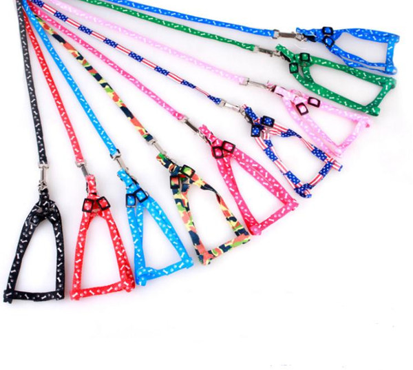 best selling Newest 1.0*120cm Dog Harness Leashes Nylon Printed Adjustable Pet Dog Collar Puppy Cat Animals Accessories Pet Necklace Rope Tie Collar SN
