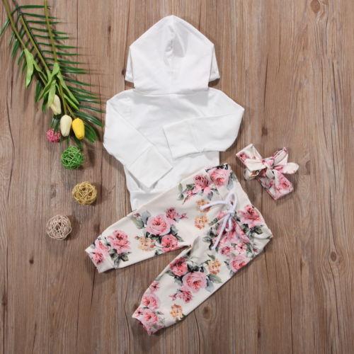 3PCS Newborn Kids Baby Girls Sweatshirt Hoodies+Pants Headband Floral Outfit Set