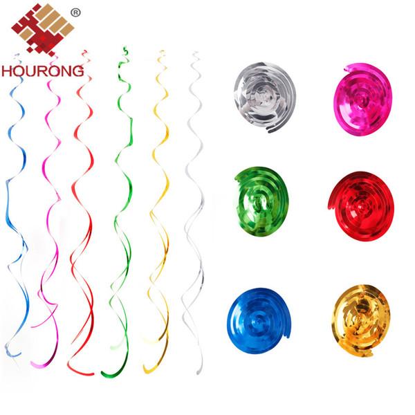 Hourong 6pcs / lot Decke hängender Strudel Dekoration bunte Metallic für Hochzeit Weihnachten Halloween-Babyparty-Geburtstags-Party