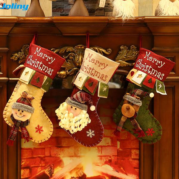 Christmas Stockings Fabric Santa Claus Sock Gift Kids Candy Bag Deer Pocket Hanging Xmas Tree Ornament