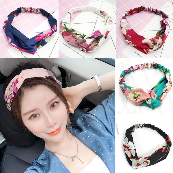 2019 Girls Headwraps Bohemian Floral Hair Bands Vintage Flower Printed Headbands for Women Elastic Head Wrap Twist Hair Accessories M300F