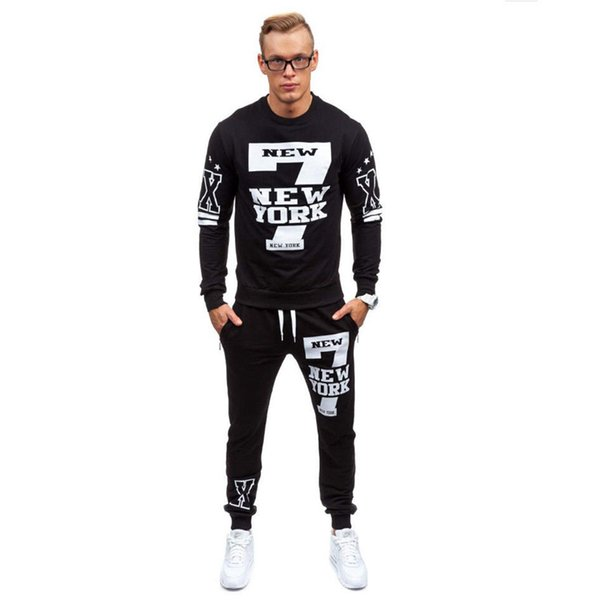 Yeni Erkekler Moda Sonbahar İlkbahar Baskı Spor Suit Kazak + Sweatpants Erkek Giyim 2 adet İnce eşofman Setleri
