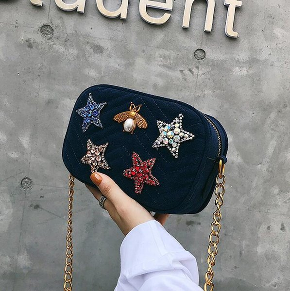 Wholesale brand women handbag winter new gold velvet clutch bag fashion color diamond chain bag soft and comfortable velvet Messenger bags