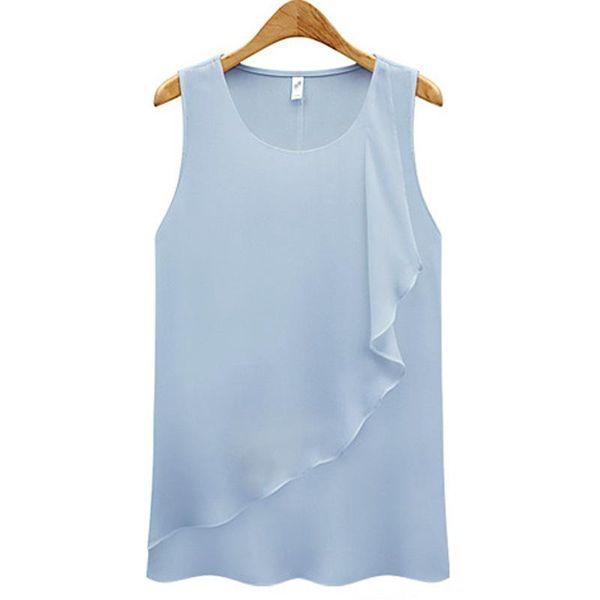 2019 Summer Women Blouse Korean style Sleeveless O Neck Chiffon White Shirt Sexy Reffles Work Tops Plus Size Ladies Clothes
