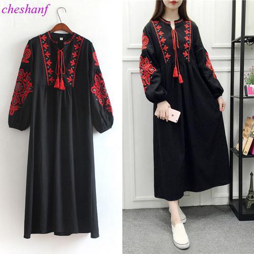 Cheshanf floral bordado étnica vestido de algodón de lino linterna de manga larga vestido maxi negro azul blanco suelta vestido largo de las mujeres Y190425