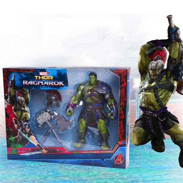 Marvel Movie Thor: Ragnarok Hulk Gladiator With Weapons PVC Action Figure Movable Model Collectible Toy Super Hero Gift for Kids