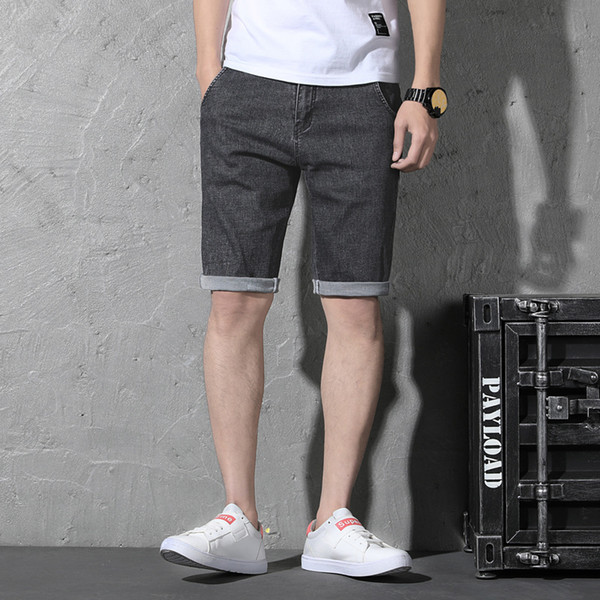 Classic Summer Denim Shorts Men Stretch Jeans Designer Casual Distressed Knee Length Trouers 29-44 46