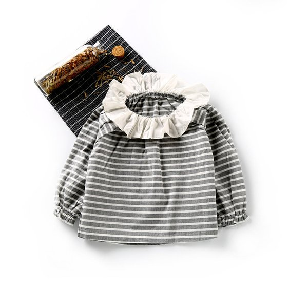 Ruffles Collar Blouse Striped Girls Autumn Cute Baby Girl Clothes New Shirt Kids Loose Style Girls Princess Costume for Kids