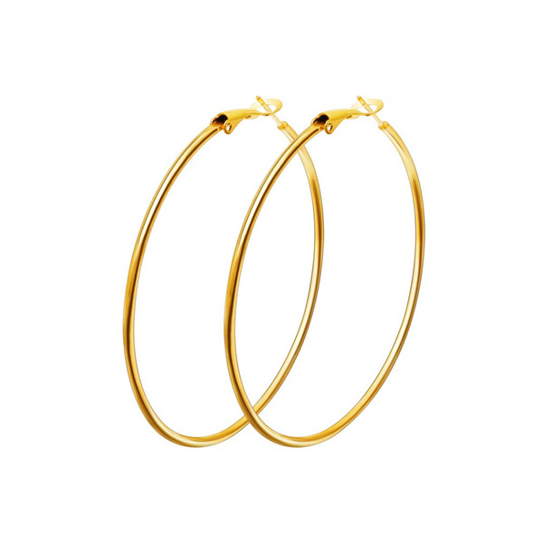 top popular Hot Sale 40mm-80mm Big Hoop Earring New Polishing Exaggerated Hoop Ear Loop Smooth Circle For Women Girls Silver Gold Color 2019