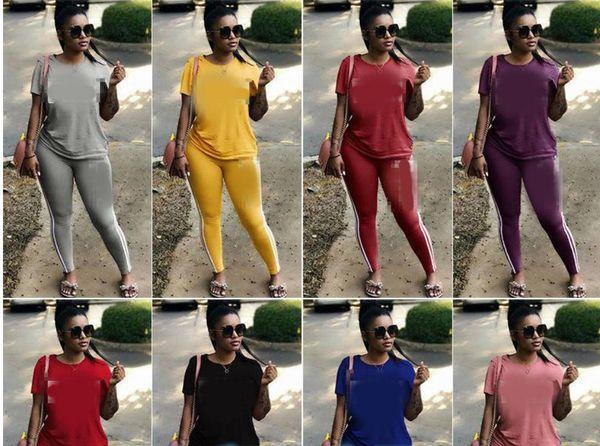 Спортивные костюмы женщин из двух частей комплекта Spring Street футболка топы и комплект Jogger костюмы повседневные 2шт наряды